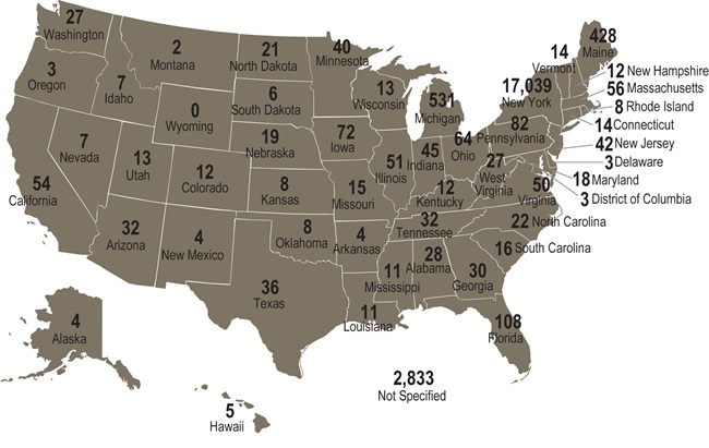 A map of the USA showing the total number of members by U.S. state of initial certification. Long description follows.